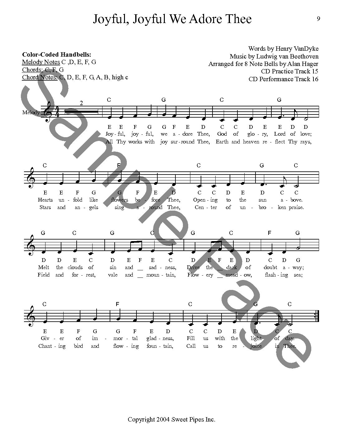 SP2397 Easy Hymns For 8 Note Bells by Alan Hager