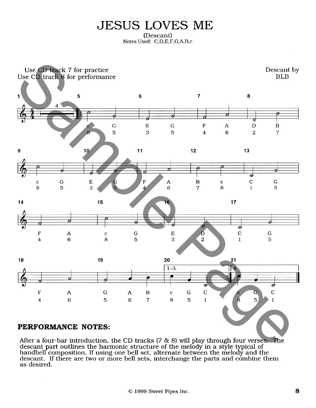 Sp2373 Hymns For 8 Note Handbells Sweet Pipes