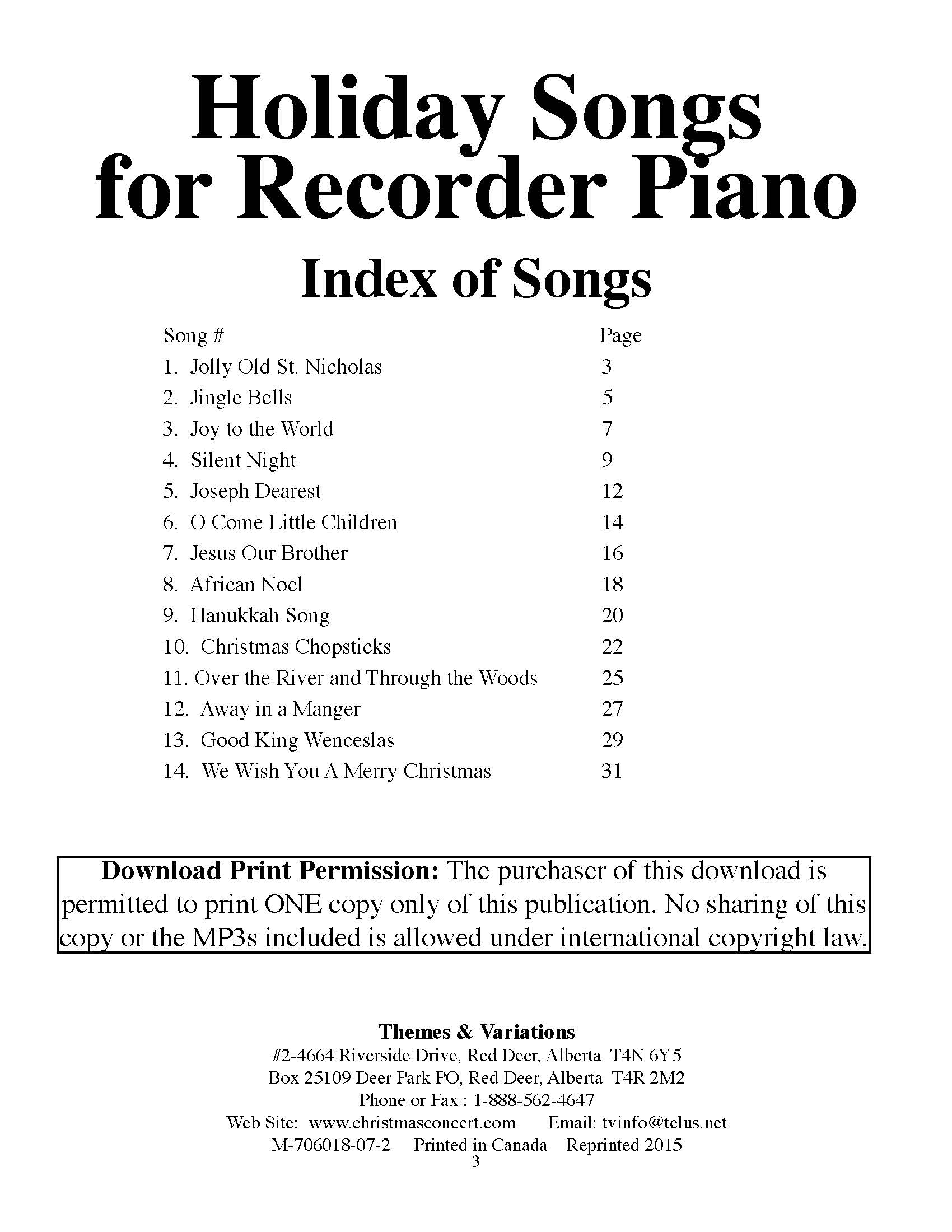 117 Holiday Songs for Recorder